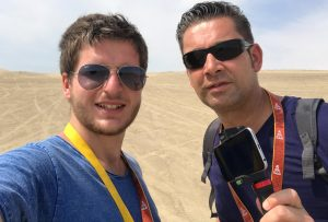 My colleague Ronald (right) and I (left) in the Peruvian dunes.